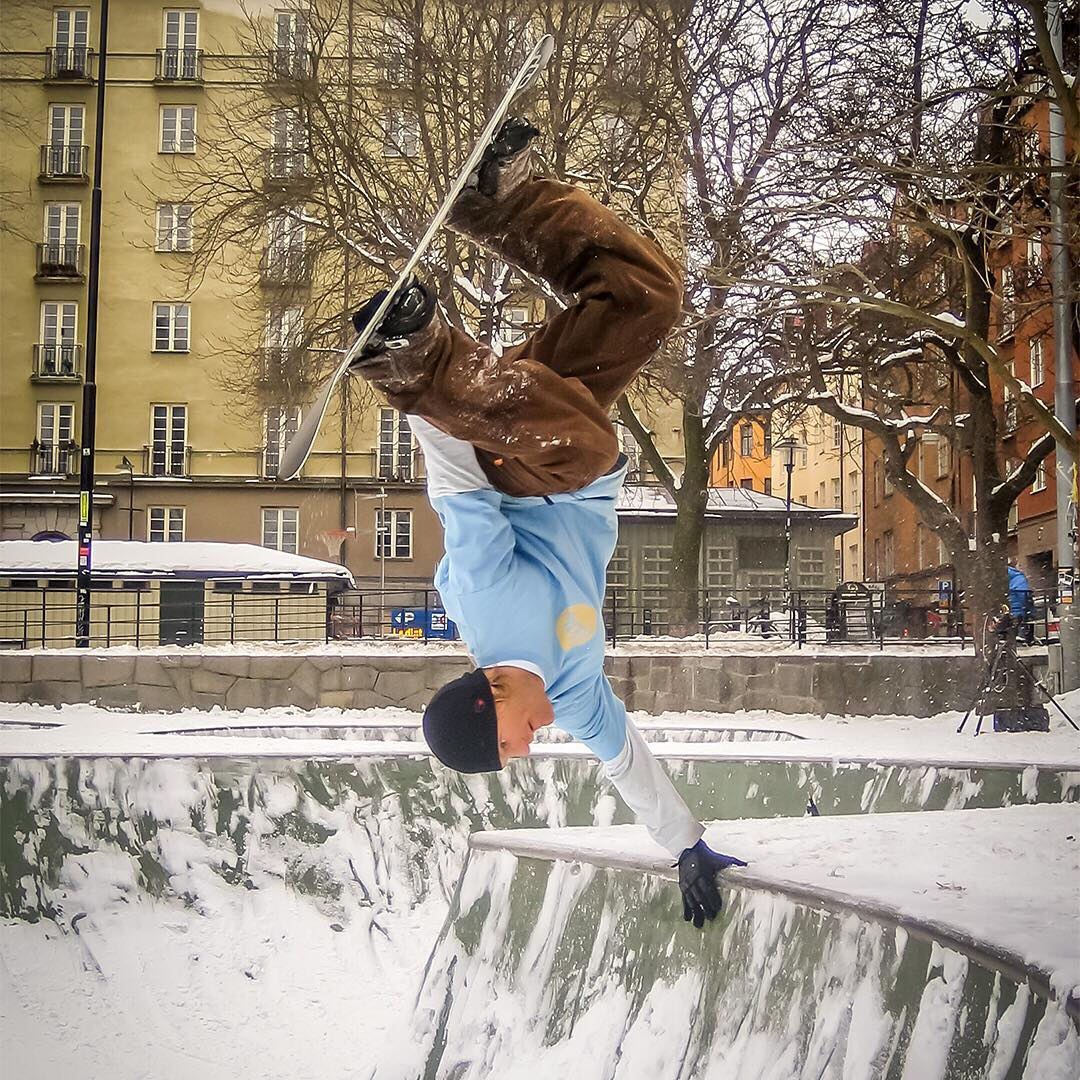 #TBT @therealjp taking the snow to the streets in Stockholm. #Nixon #WasteNoTime