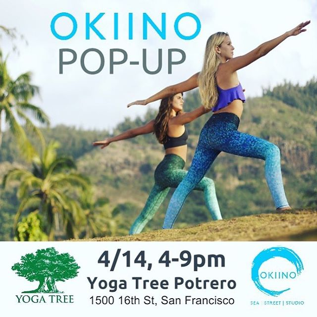 OKIINO POP-UP @yogatreesf today!  Also join us for our yoga tonight with our fave, Mike Richardson, @twistedyogi 7:30 PM