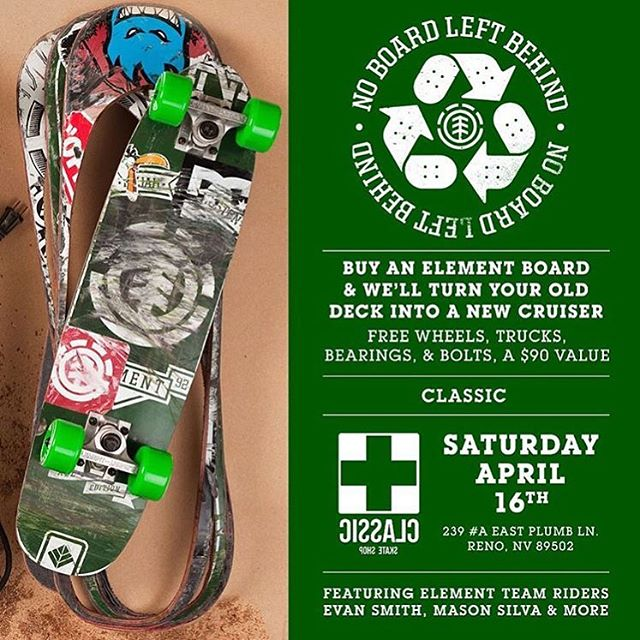 #noboardleftbehind heads to @classicskateshop in Reno, NV this Saturday with @starheadbody @coookie_doe @nassimguammaz and more on site to turn old decks into new cruisers! ♻️