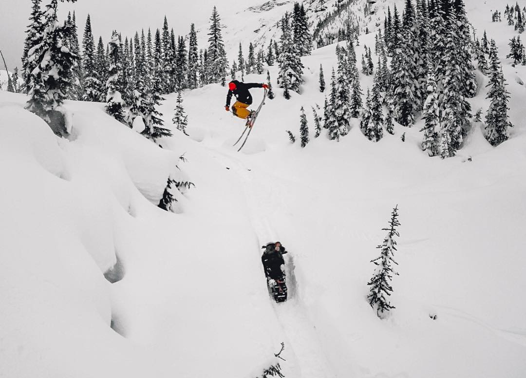 "#GoPro Featured Photographer: @chrisbenchetler  About the shot: While shooting episode two of Chasing El Nino, ""Always Cloudy in BC"" we saw that the snowmobile track was ripe. I'm jumping, with my boy @_SmithMade_ sitting on the snowmobile!  How I got..."
