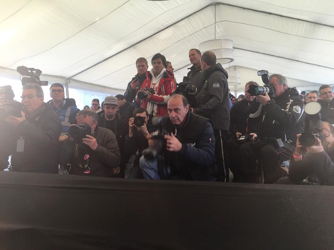 Sometimes I feel like I'm being watched… ha. My view of today's @FIAWorldRX press conference. Bonus points if you can spot the @Roncar in that crowd. #FocusRSRX #FordRallyX