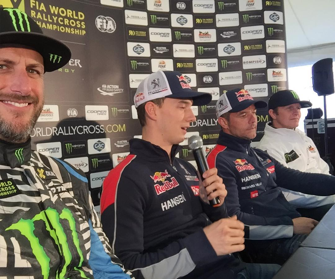 Selfie during the WorldRX press conference with TWO World Rally Champions at the same table: Mr. Sebastien Loeb and Mr. Petter Solberg. Kinda wild, but I'm stoked to be racing in the same series as these world champion drivers, along with a ton of...