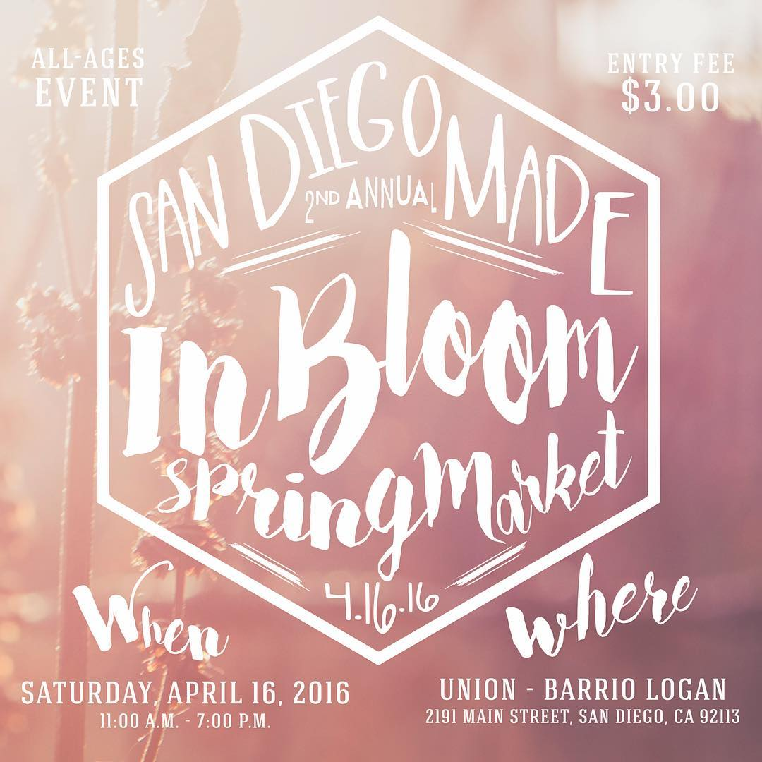 ~ Tribe Gathering ~  We'll be opening our studio doors for the 2nd annual In Bloom Spring Market tomorrow. Hosted by @sandiegomadeinsta at Union studio in Barrio Logan, from 11-7pm.  Have a beer, check out tons of rad local makers, enjoy live music and...