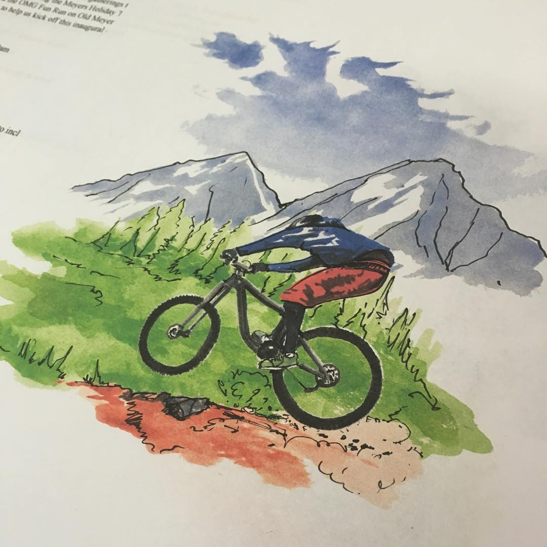A little close up of the watercolor detail we did for the Meyers Mountain Bike Festival poster. Mike painted this and then we re-worked it a little bit on the computer. Really happy how this come out. We always push to do something different for this...