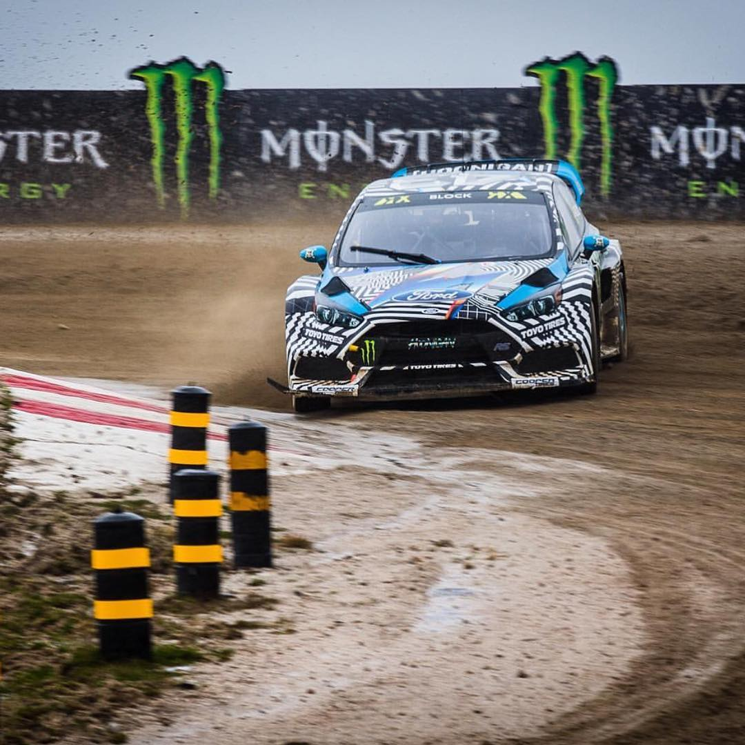 HHIC @kblock43 and teammate @andreasbakkerud getting familiar with their new Focus RS RXs with a whole lot of rain and mud at @fiaworldrx in Portugal. #becauserally