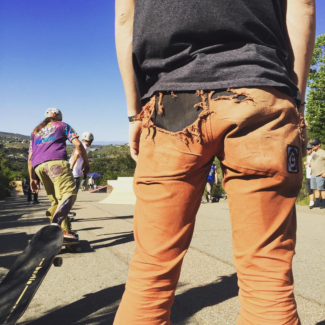 Now this is a well worn pair of #pushcultureapparel #crashpants  A full season of skating and logging and still strong!  #yougetwhatyoupayfor