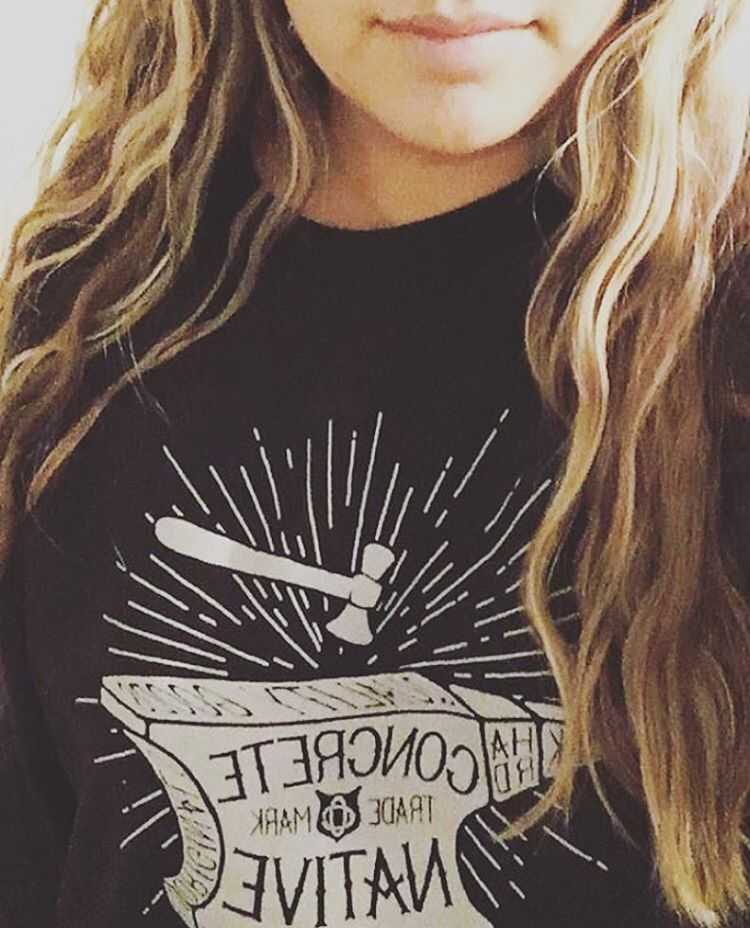 """#ShoutOutSunday this week goes to @taracrooks08 in the Skyforge crewneck, aka the """"softest sweatshirt""""...her words!  Remember, if you want a shoutout, tag us in your photos! We love to see our stuff on you beautiful people!  #sos #concretenative..."""