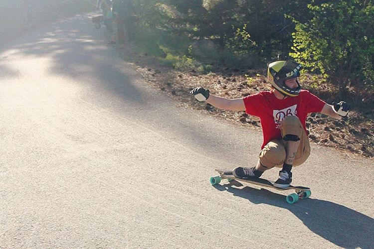 @jonnyyardwaste smashing through Giants head on the Contra! (Photo by Matt Neufeld) #dblongboards #dbcontra #longboard #downhillskate #downhillskateboarding #giantshead