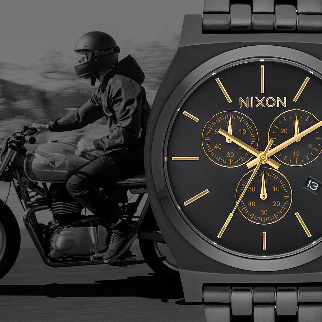 More of a good thing. The #TimeTeller Chrono features a five link bracelet, locking clasp buckle, chronograph and date window. #Nixon