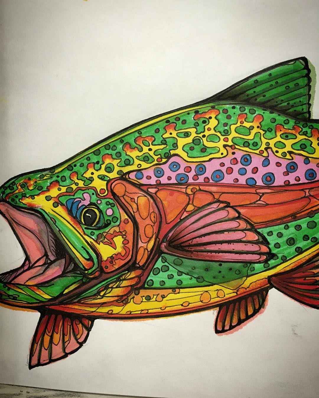 Some more wall art from our shop. Miller drew this one a couple months back. It seems to draw people's attention whenever look at our walk. I guess fish are cool. #troutfishing #trout #graphicdesign #drawing #riseshop #risedesigns #risedesignstahoe...
