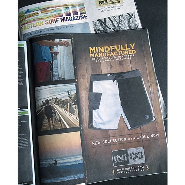 New #Sprall14 product feature in the new @easternsurfmag . Featuring the new 2-Way-Stretch, Color Blocker Boardie. In stores now. #ShopLocal #MindullyManufactured
