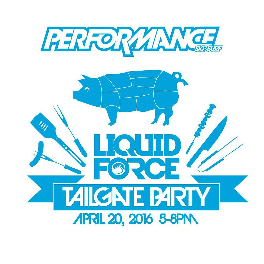 Liquid Force Tailgate Party at @perfski tomorrow!  Join us for their annual super sale and Wake Open registration... Hang with and meet the LF team, free gift bag with every LF purchase, free food, and we're raffling off a new board!