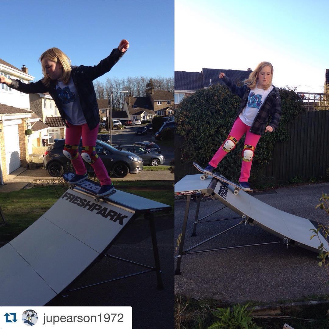 #Repost @jupearson1972  @taylzshreds on her new @freshpark ramp in the drive #girl #girlskater #girlskateuk #girlswhoskate #girlsdoitbetter #girlsridetheworld #skate #skategirl #skatelife #skateramp #skateboard #skateboards #skateboarding #freshpark...