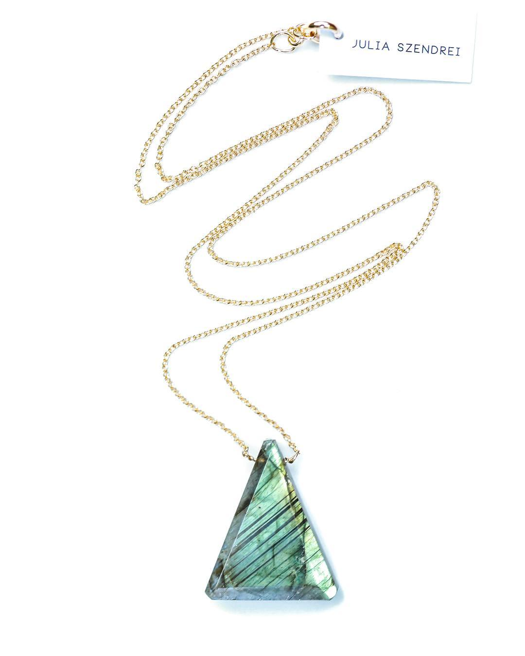 "Labradorite Triangle Necklace.  A custom shape cut for the new larger Gemstones. 18.5"" on Gold  #gold #labradorite #triangle #geometric #shapes #gemstones #crystalgypsy #giftguide #gypsy #mission #mom #mood #bling #heat #hotstone #teamcanon #canon..."