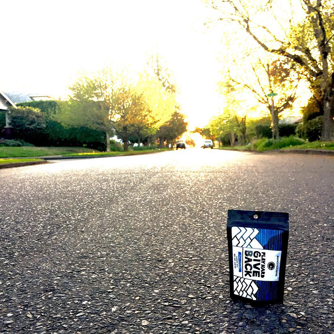 When you think of home, what comes to mind? PHGB snacks look pretty good on Portland streets at sunset  #playhardgiveback #phgb #givesyoupurpose #trackthetrailmix