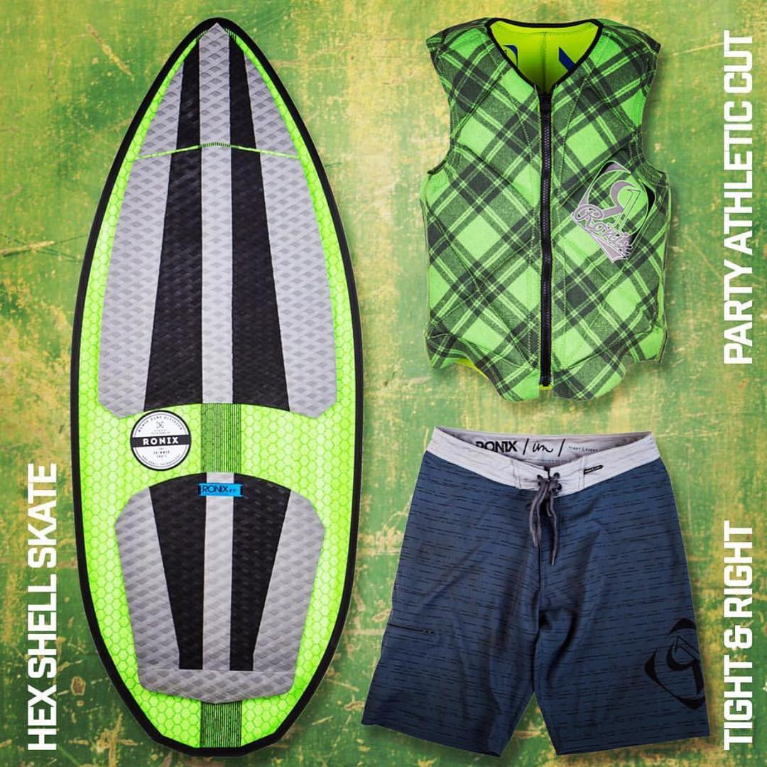 Hex Shell Skate Skimmer, Party Athletic Cut Vest and The Tight & Right Board Shorts. #ronix2016 #ronix2016 #ronixswag #fortifiedwithlakevibes #oneloveinwake #hexshellskateskimmer