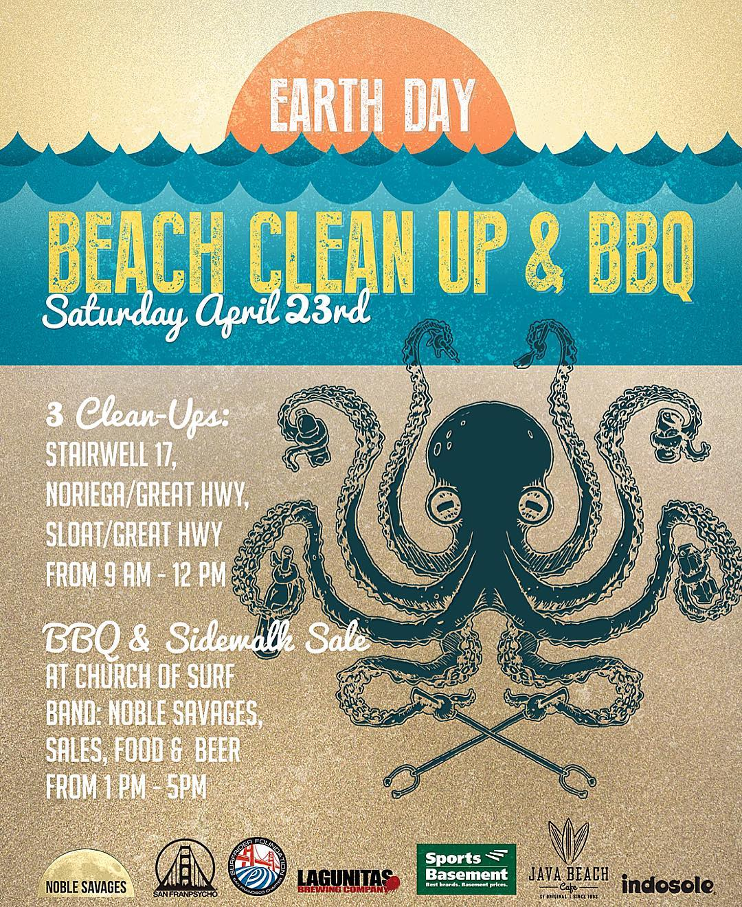 Celebrate #earthday with us this Sat 4/23 by cleaning your favorite part of #oceanbeach then join our partners for an afternoon BBQ in the Sunset. #volunteer #protectandenjoy #noriega #sloat #stairwell17 #OBSF