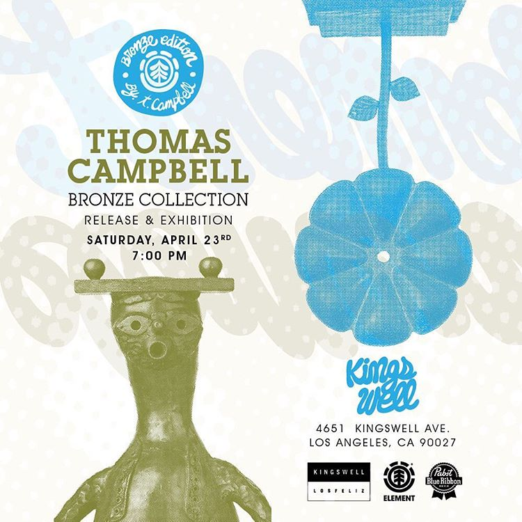 this ones going to be epic! @thomascampbellart bronze exhibit and collection release at @kingswell_losfeliz this Saturday night >>> live custom tee silk screening, live music by @r.barbee, free brews from @pabstblueribbon and plenty of good vibes...