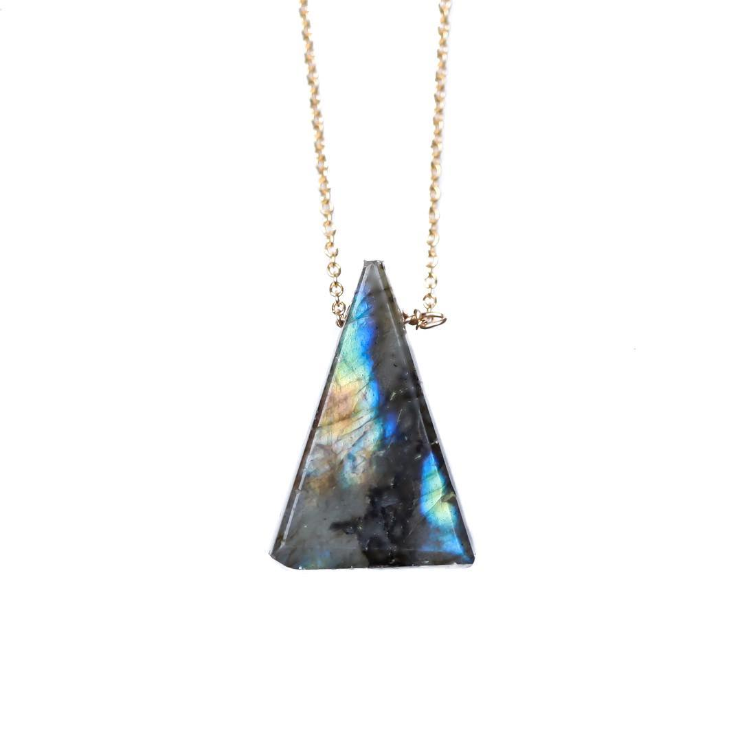 Labradorite Triangle Necklace  #crystalgypsy #gypsy #mission #gold #juliaszendrei #jewelry #labsofinstagram #labradorite #gemstones #gemstonejewelry #makersmovement #maker #makeit #capecod #capestyle