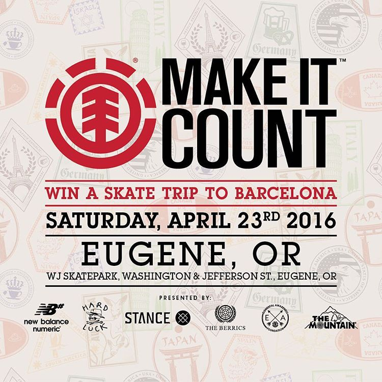 Join us this Saturday, April 23rd for an #elementmakeitcount contest at the WJ skatepark in Eugene, OR! Enter for the chance to win an all expenses paid skate trip to Barcelona! More info at Elementmakeitcount.com @elementmakeitcount