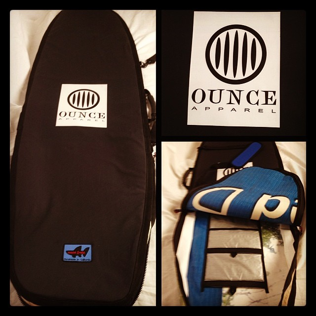 Wave Tribe #upcycle #boardbag for #vanguard with customers unique logo going to Oz. Enjoy Grant.