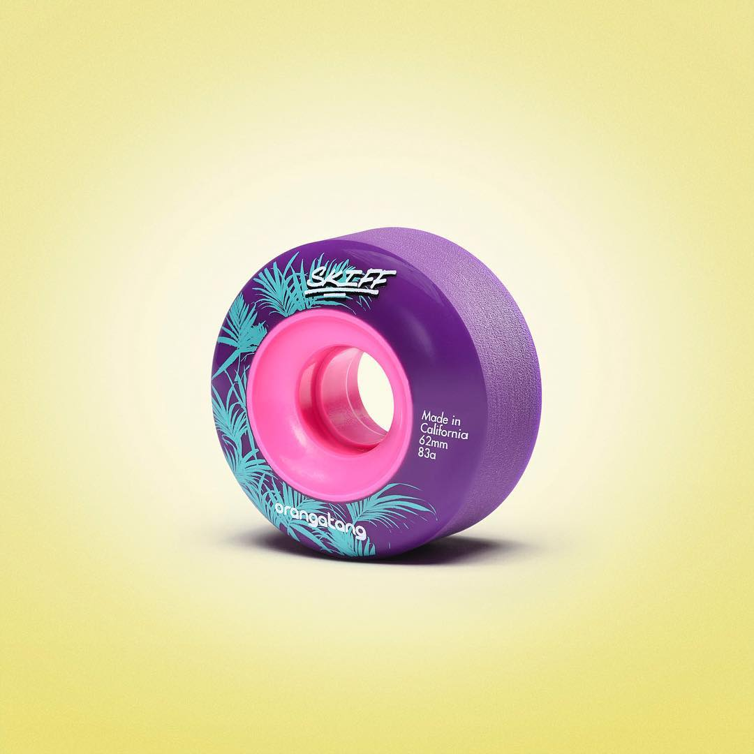 Behold the Skiff in all of its dankness! 62mm Tall, 25mm Contact Patch, 35mm Wide, Power Level over 9000!  Available at your local skateshop sooner than you expect!  Photo: @nanastudio_la  #Orangatang #OrangatangWheels #TheSkiffs #Purple