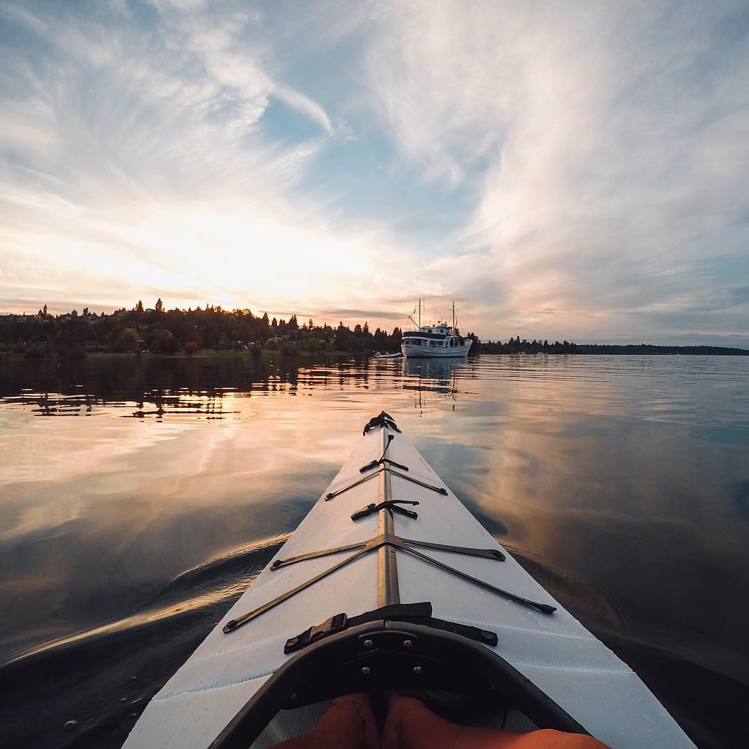 #GoPro #WCW + #GoProGirl: @findmeoutside  Good evening everyone! Elena here with the parting image of the day. This was taken at sunset in Steward Park near #Seattle last fall during a #roadtrip with my friend Brooke in our Oru Kayaks. I set the camera...
