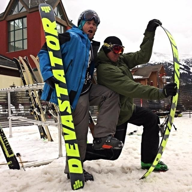 4FRNT All Star Palmer Hoyt ( @palmerhoyt ) and founder Matt Sterbenz getting psyched on The #Devastator at #FreeskierFest Park Test at @coppermountain . Give 'er good boys. #riderowned