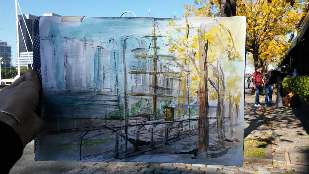 #art #arte #acuarela #aquarelle #watercolor #autumn #puertoMadero #buenosaires #buque
