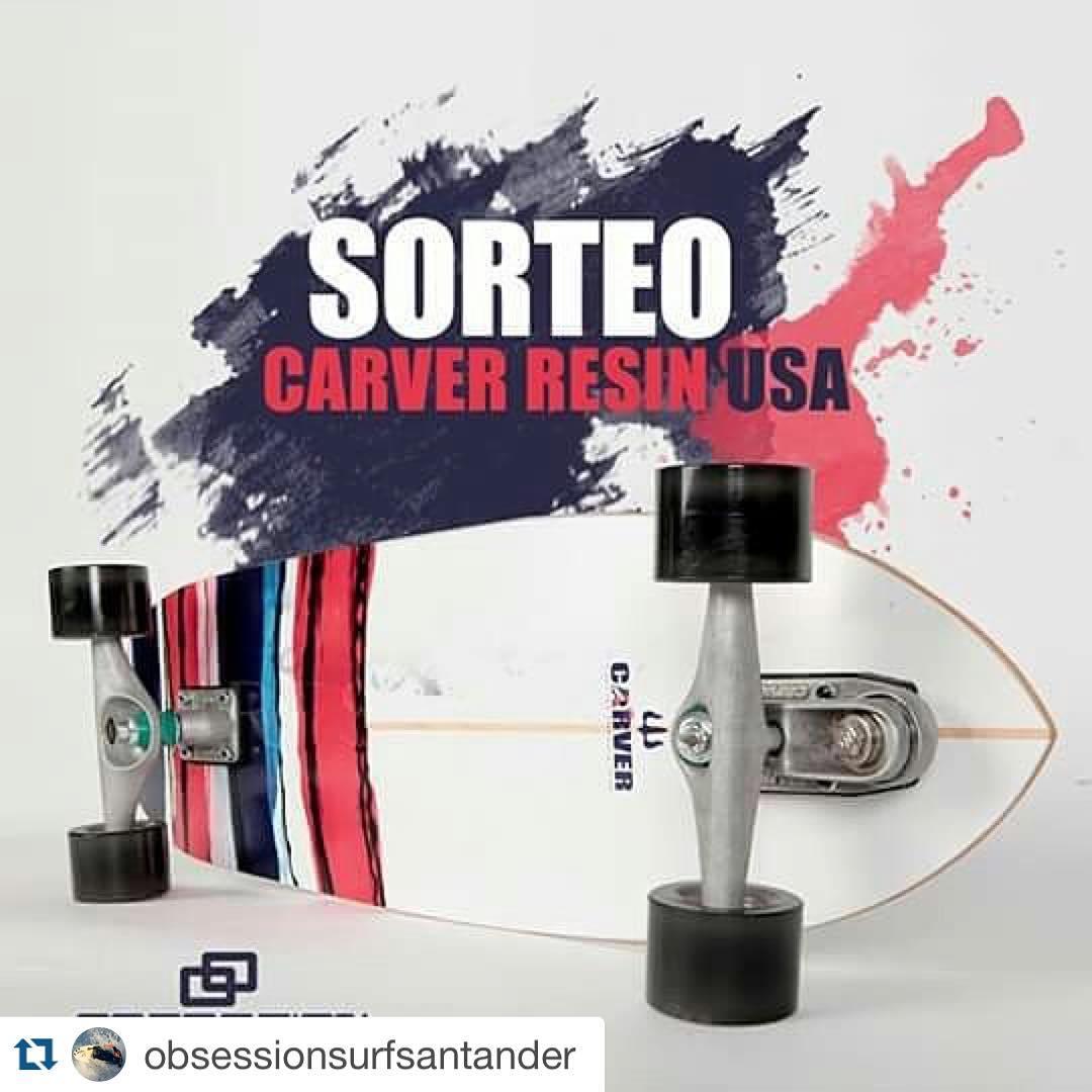 """#Repost @obsessionsurfsantander with @repostapp. ・・・ ¡SORTEAMOS UNA RESIN USA by Carver Skateboards!  Pasos para participar: 1. Dale un """"Me Gusta"""" a nuestra página -> Obsession Surf Santander 2. Menciona a un amigo apasionado del surf, el skate o el..."""