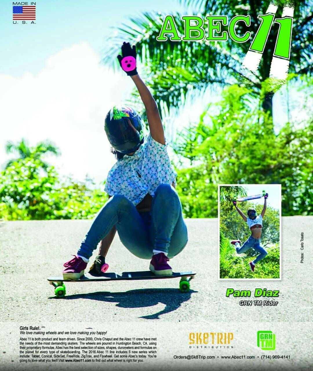 Fresh back cover ad of Pam MF Diaz @pamdiazz on her Jet and Abec11s @abec11wheels and bam our pucks too high five