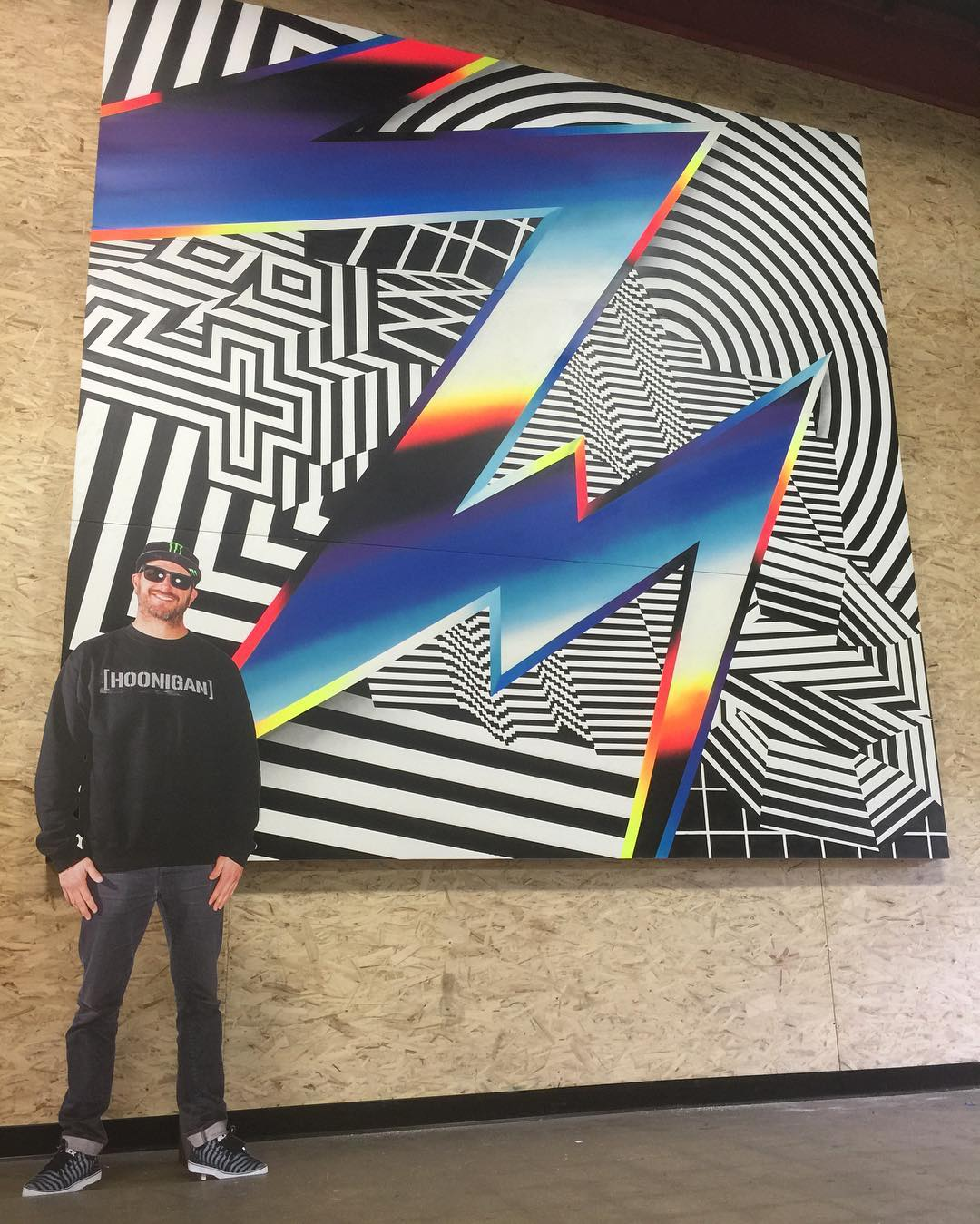 Another shot of @FelipePantone's main art piece that he painted for my 2016 race livery. This shot gives you a little perspective of just how huge that piece is (that cardboard cutout of me is 6 feet tall). This piece is currently hanging at...