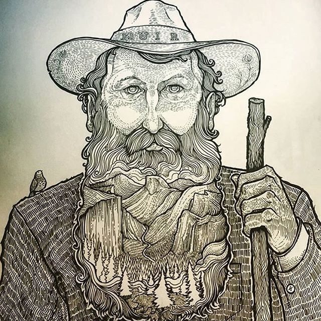 HBD JOHN MUIR! came across this amazing art by @jercollins_com and had to share as a way to celebrate the man. #johnmuir #themountainsarecalling #radparks