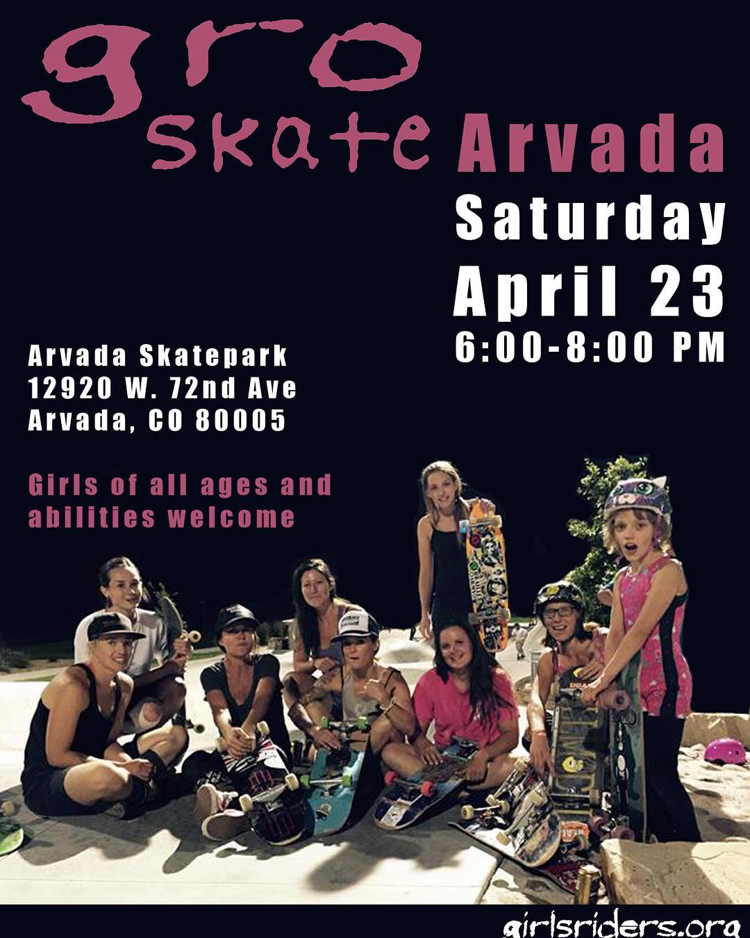 Don't forget to come shred with theses amazing ladies at Arvada Skatepark