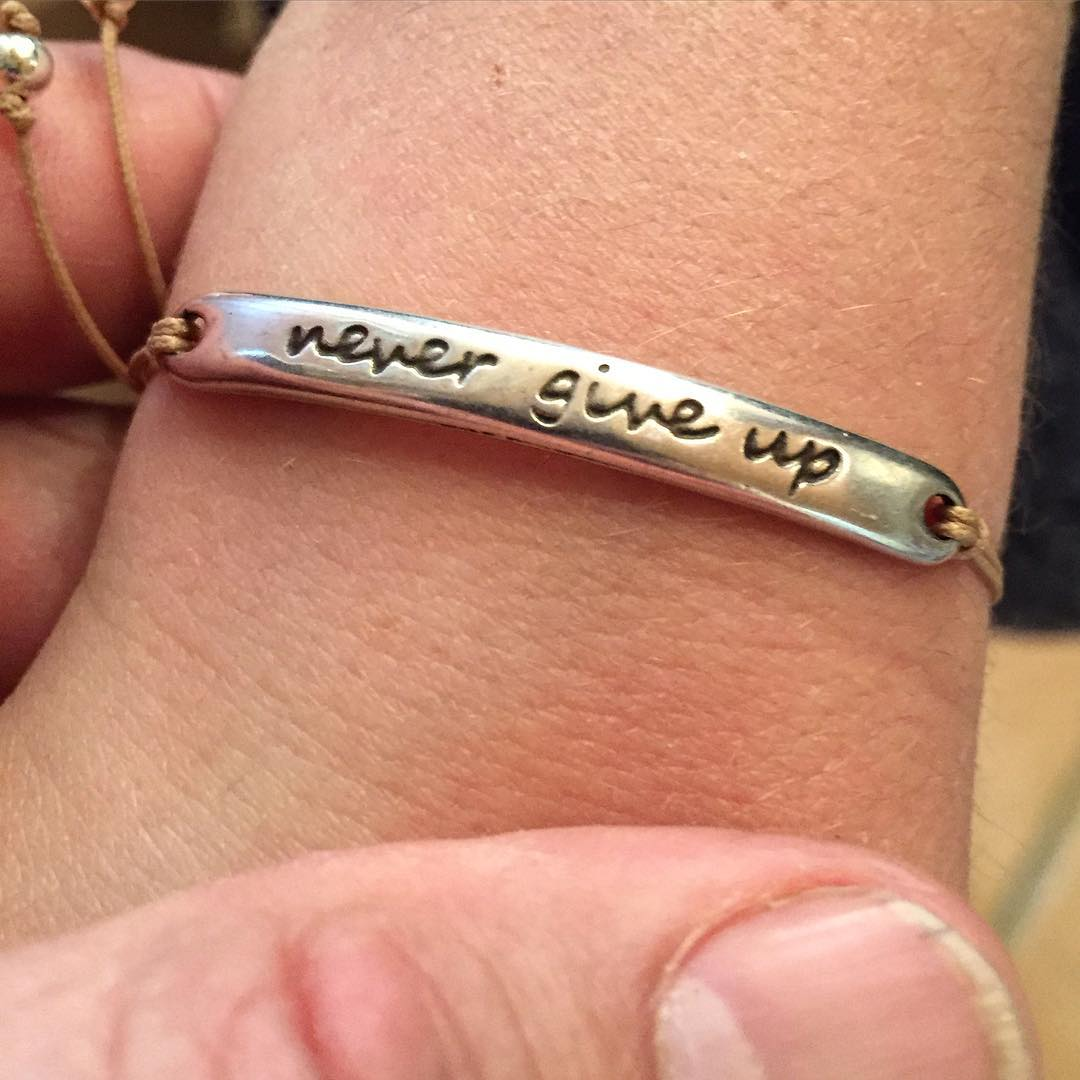 """Never give up"" is a saying we use often in the motorsports that I do. So, I was stoked when my wife found this inspirational bracelet for our eldest spawn whilst we were in Barcelona last week. Got to teach them the essence of life and racing, early..."