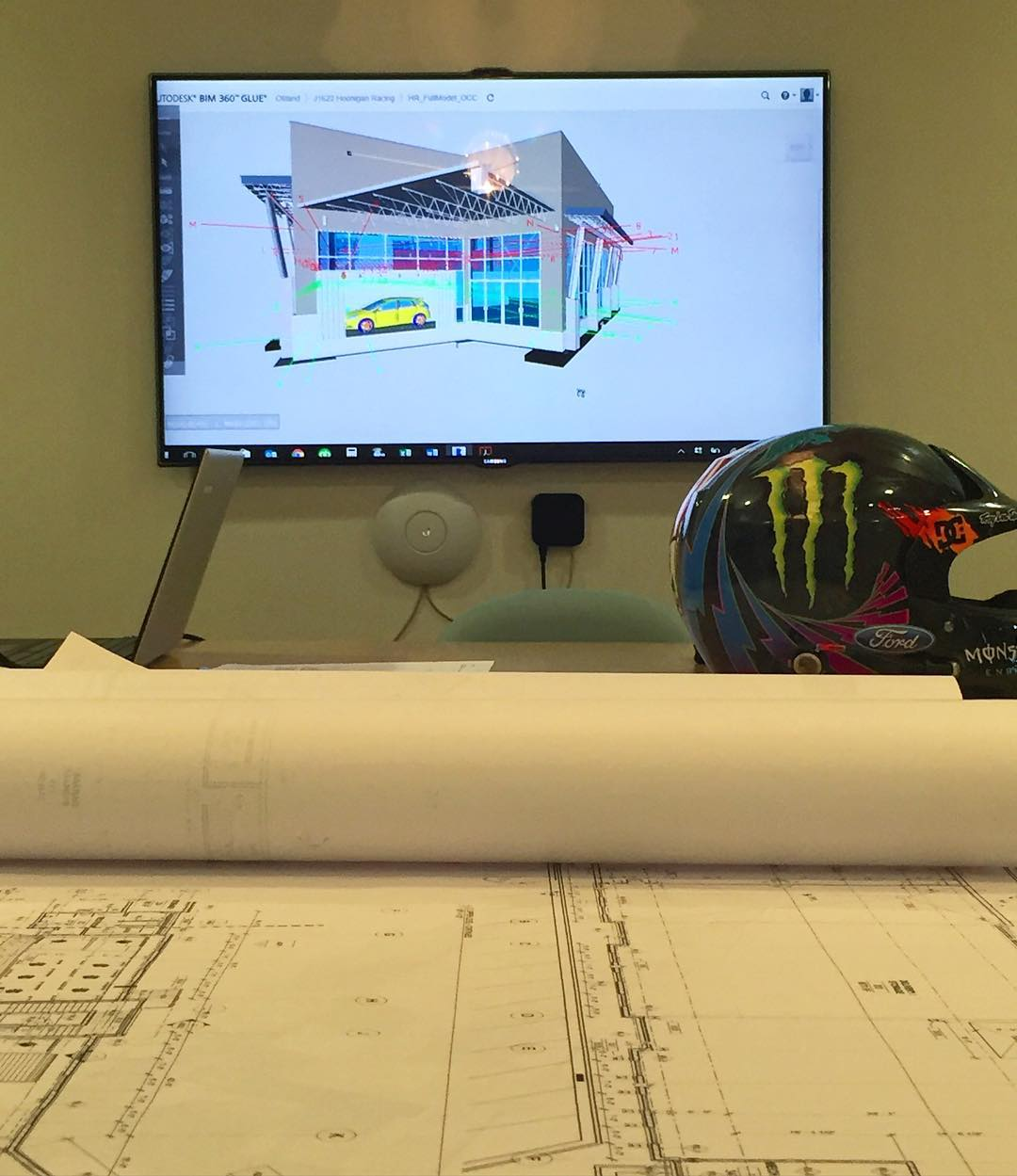 My view from the #HRD_HQ conference room table yesterday, whilst reviewing the plans for our new @HooniganRacing Headquarters building. 3D renderings and architectural plans are fun. Random fact: I studied architecture all through high school, did a...