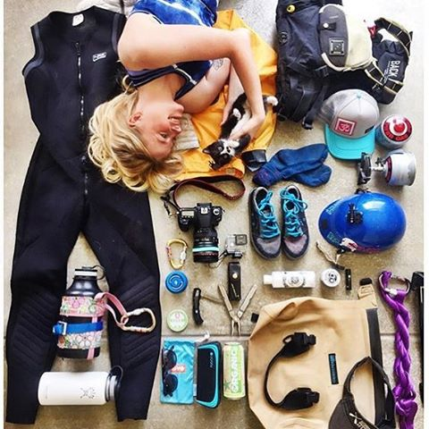 What's your favorite piece of #gear in this pic from @nakedinthewild?  Is it the metallic blue #tdub, the @astralfootwear #brewers, or the @hydroflask with a leashed coozy? #cuzrockshurt