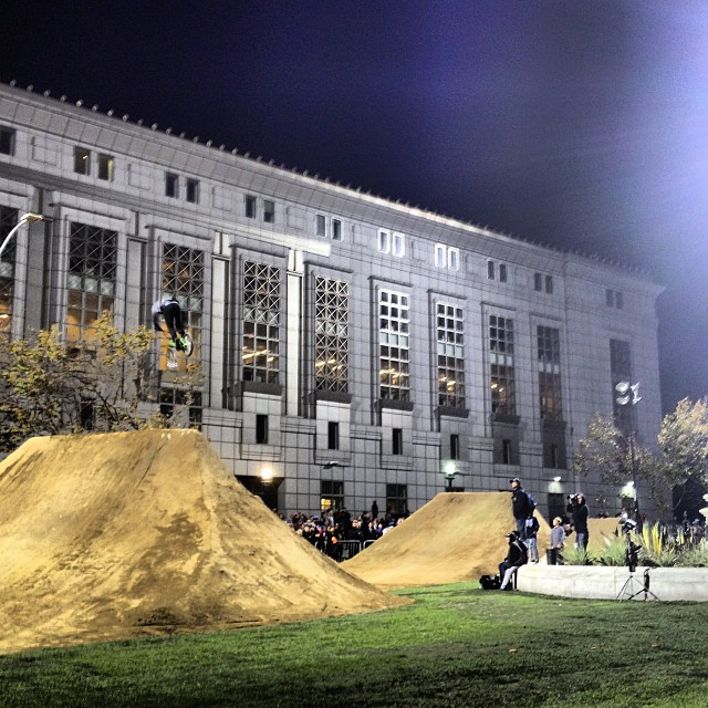 .@dewtour in the house #sanfrancisco #civiccenter #bmx #dirt semis going on now