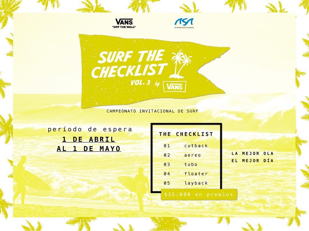 Alerta amarilla para el #vanssurfthechecklist. Esperamos las mejores condiciones del mar para lanzar el evento la semana que viene.