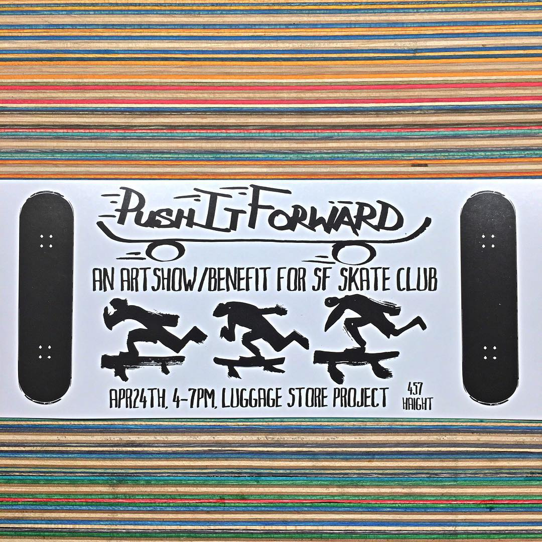 Join us and many other artists tomorrow at the Luggage Store Project SF. Help raise money for the @sfskateclub so they can continue to do great things! #pushitforward #irisskateboards #recycledskateboards #sfskateclub