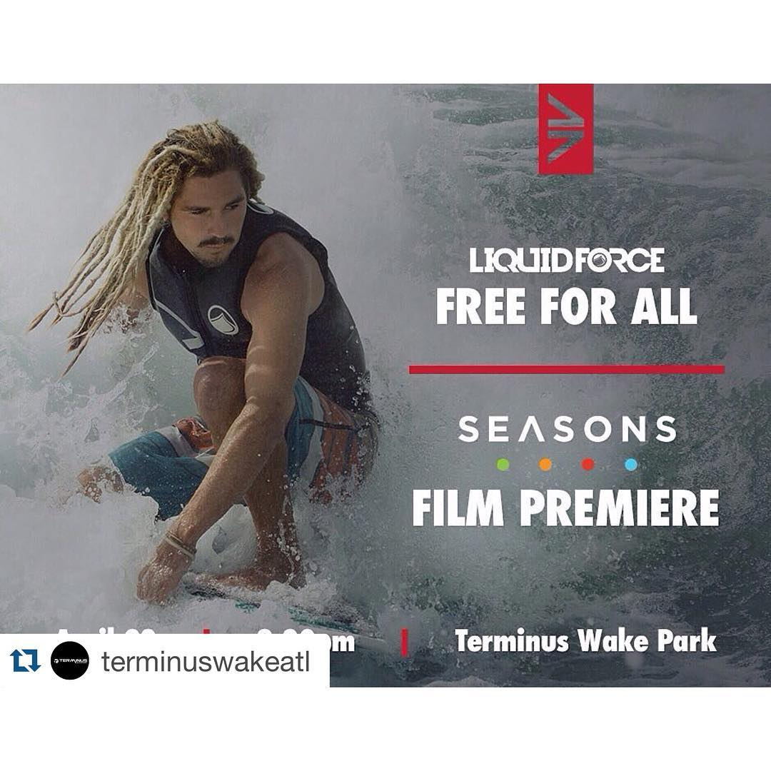 #Repost @terminuswakeatl ・・・ Come out tonight at 8:30 for the worldwide premiere of Seasons Wake Film. Perfect way to end a fun day of Free riding! @liquidforcewake @onewake_ @bodyglove53 @lakepointsports  Join us on Lake Lanier tomorrow for another...