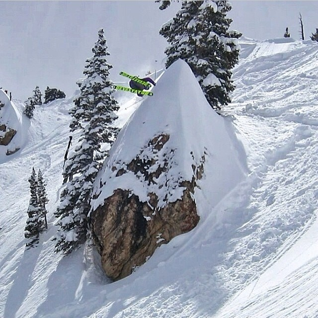 Thayne Rich ( @t_hayne ) sends it and @ericbalken captures it. Rad photo of a rad dude. @altaskiarea #riderowned
