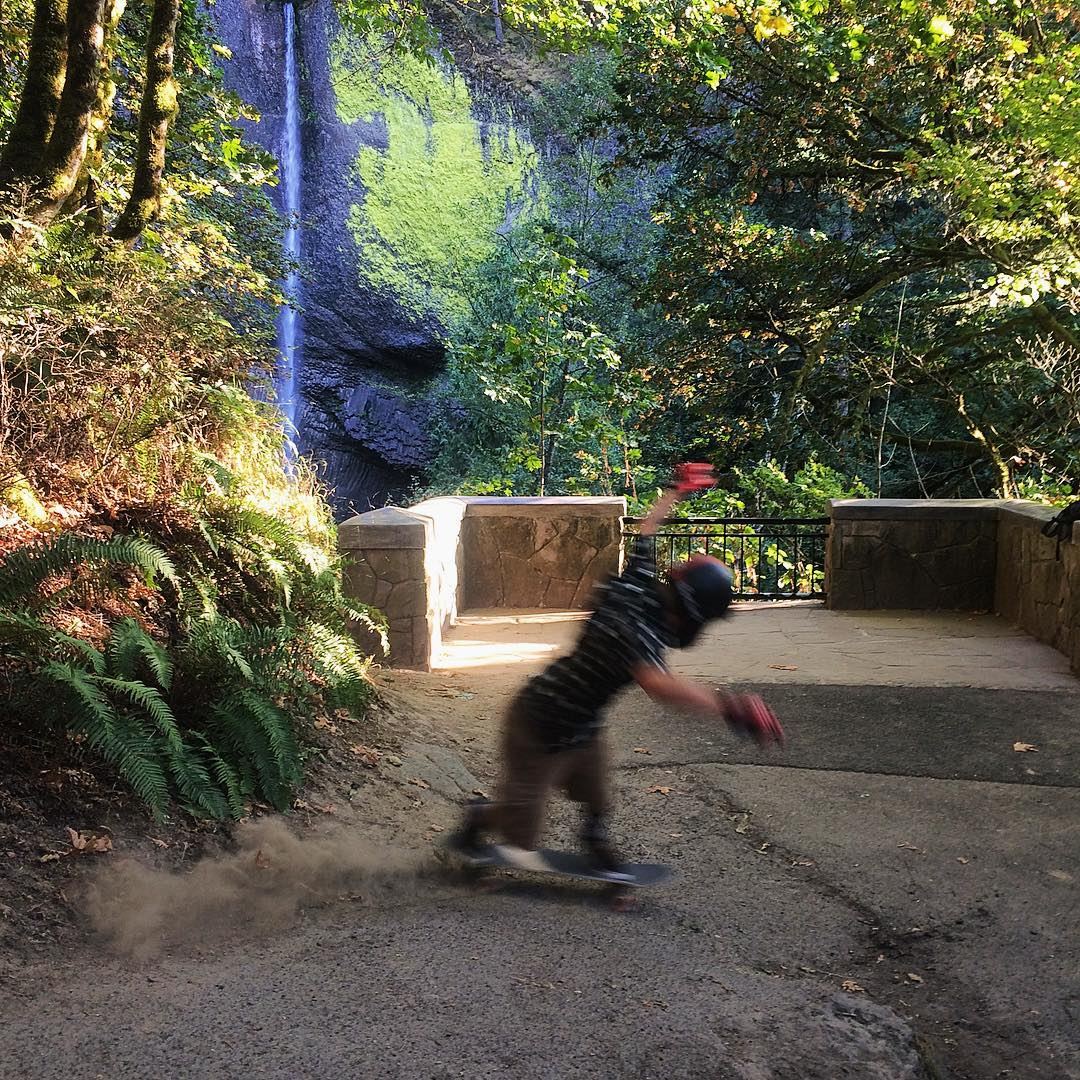Out exploring the northwest, @jimmywesterson didnt have time to stop and smell the roses, much less see all the sights like the waterfall pictured behind him. There was just too much skating to be had! #paristrucks #paristruckco