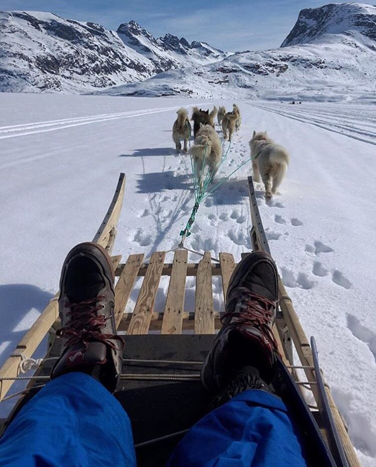 @anthonybonello still finding ways to track down the white stuff ❄️ A team of 80 dogs got them to Tiniteqilaaq, Greenland for the night. We're excited to see what lies ahead!