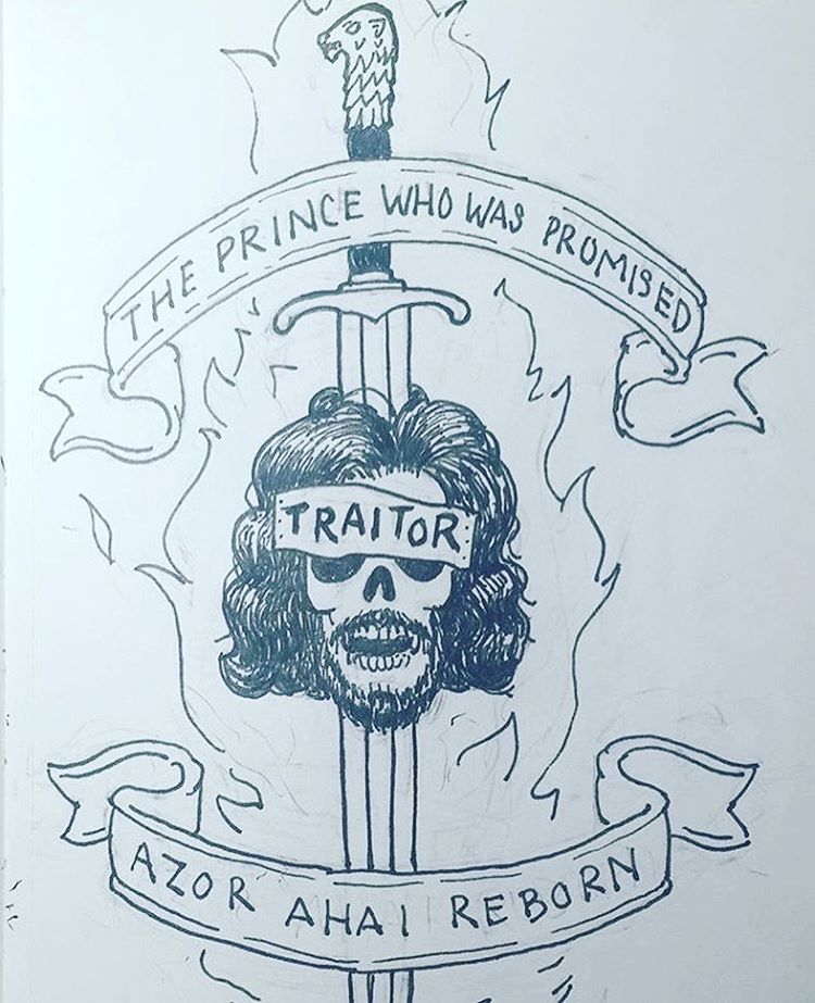 From the sketchbook of @tylerskaggs yesterday at our drink & draw. • • Azor Ahai Reborn • • #got #gameofthrones #sketch #jonsnow #spratx #art #sketch #atx #austintx #texas #tx #sundayfunday