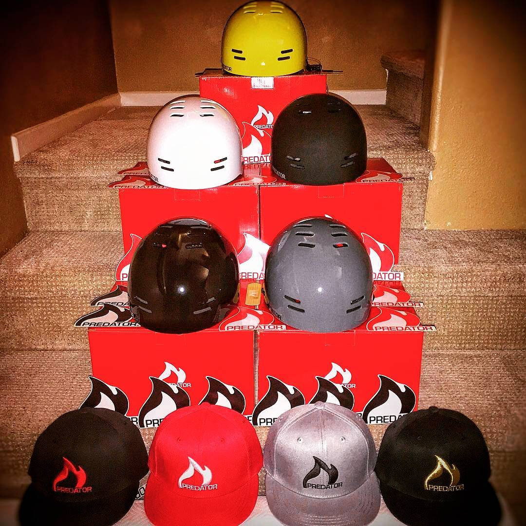 @markus.olberz just got his swag pack of Predator SK8 helmets! Stoked to have you on the team ☺