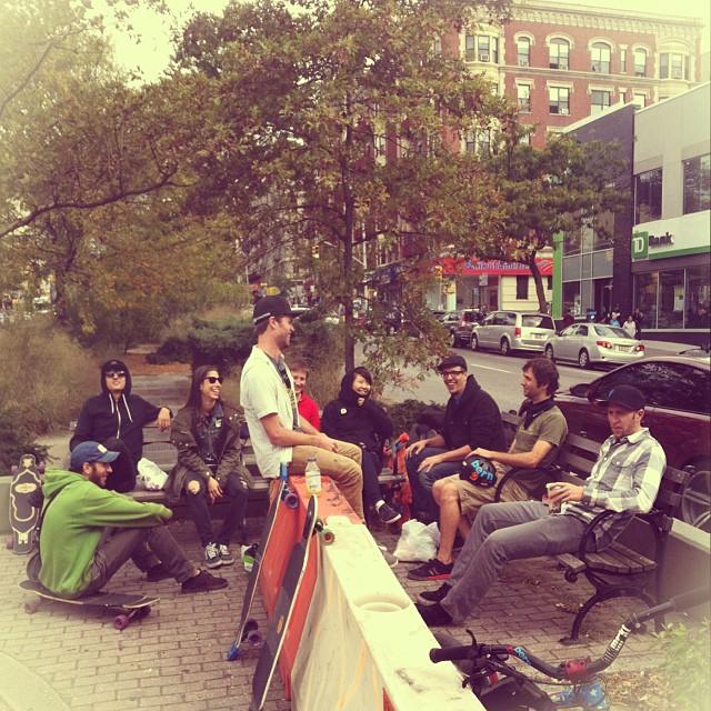 Hanging out in #NewYorkCity streets after this morning #BroadwayBomb Earthwing slide jam with @loadedboards crew @adamstokowski, @reverantone & #AriChamasmanyneedsanInstagram, @priceyalex, @brianbishop_ @cindyzskates @skateinvaders & @valeriakechichian...
