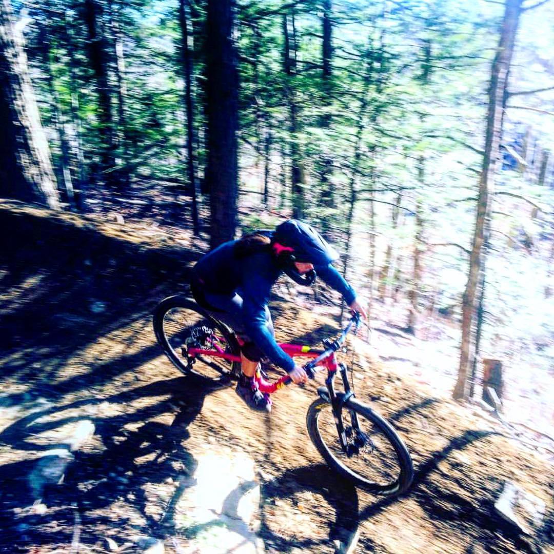 Girafficorn on a ride. SheJump's @britt_jumps shredding the singletrack in the Northeast. Head to SheJumps.org to get your  #girafficorn sticker for bike season. #thundermountain #iamsj #shejumps #girafficornnation #getoutside #mtb #mountainbiking...