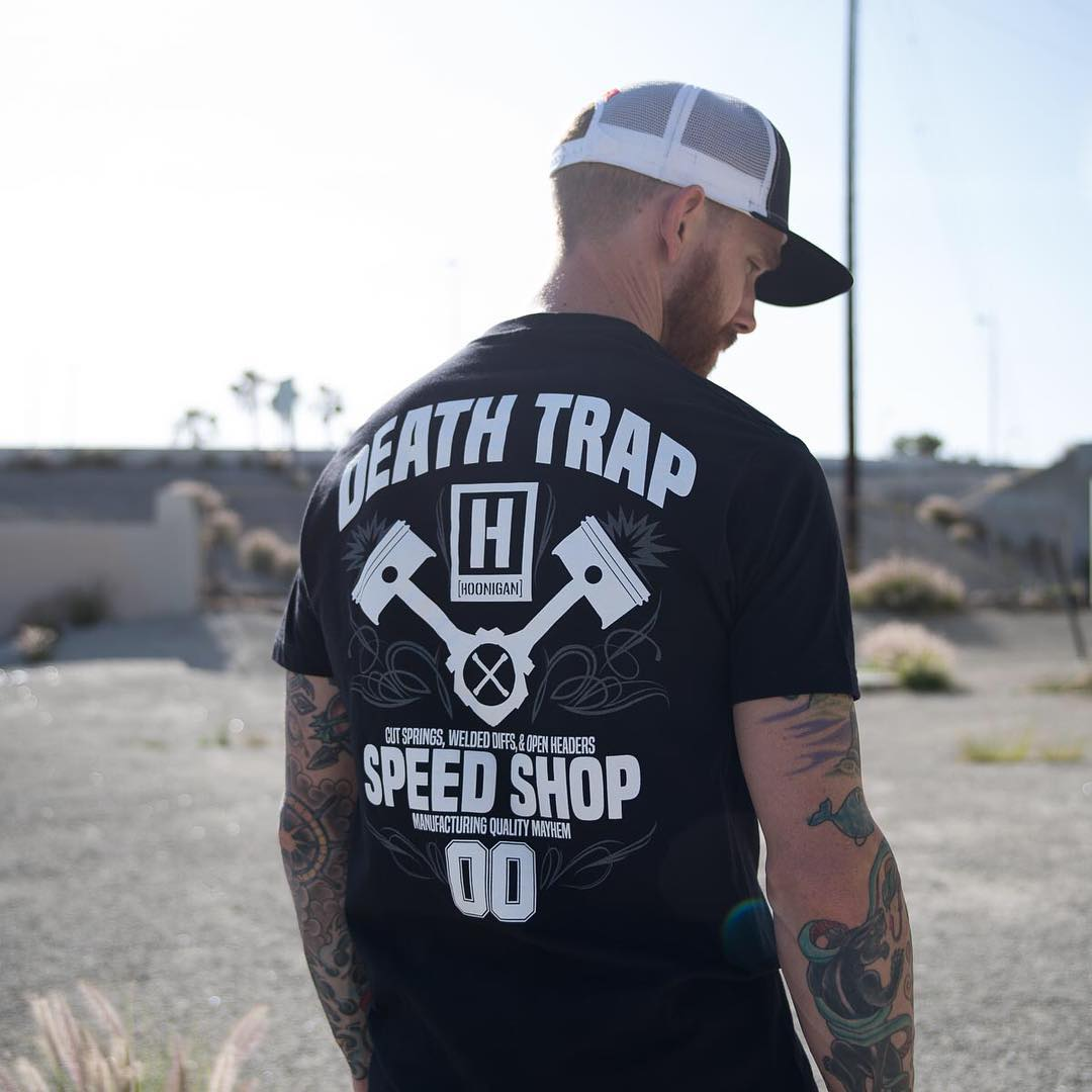 @chrisforsberg64 in our new Death Trap Speed Shop tee. Now available on #hooniganDOTcom.