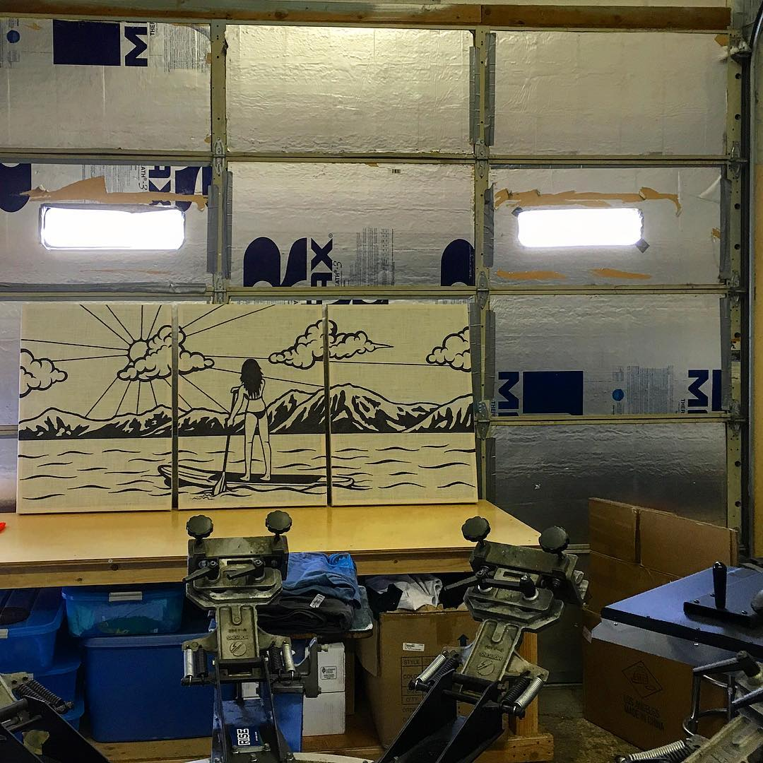 Here's a view of some burlap panels that we applied some of our existing artwork to on a bigger scale. This was a project we did for Cold Water Brewery in South Lake Tahoe. The panels are 3 separate pieces to be hung on the wall. Go down there and...